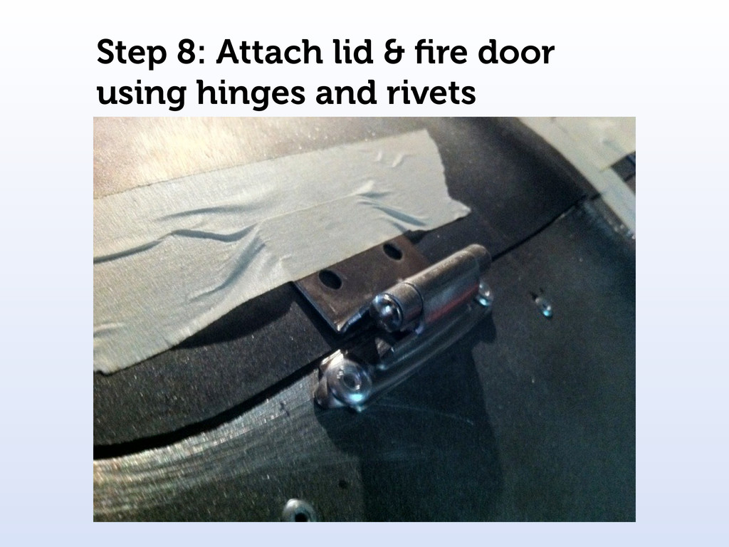 Step 8: Attach lid & fire door using hinges and ...