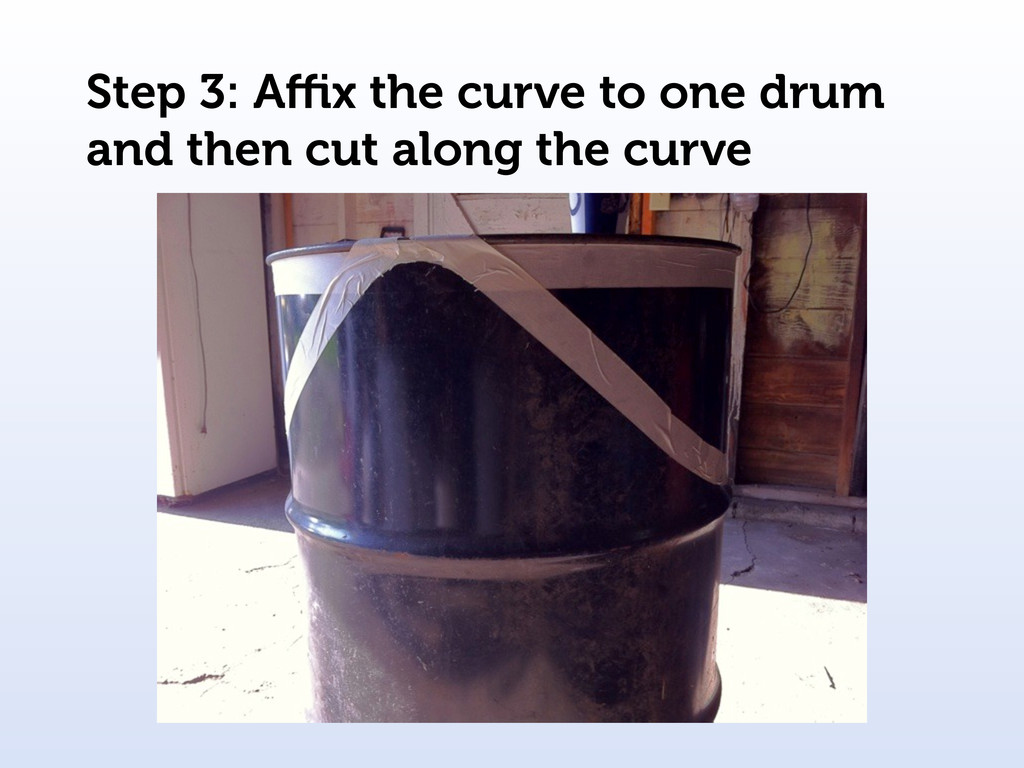 Step 3: Affix the curve to one drum and then cut ...