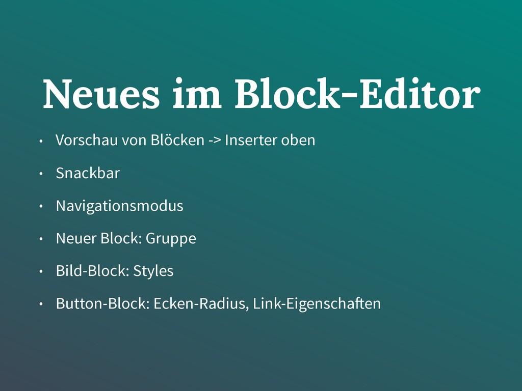 Neues im Block-Editor • Vorschau von Blöcken ->...