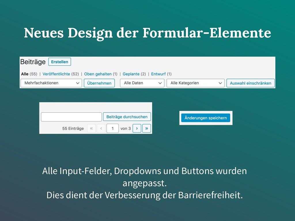 Neues Design der Formular-Elemente Alle Input-F...
