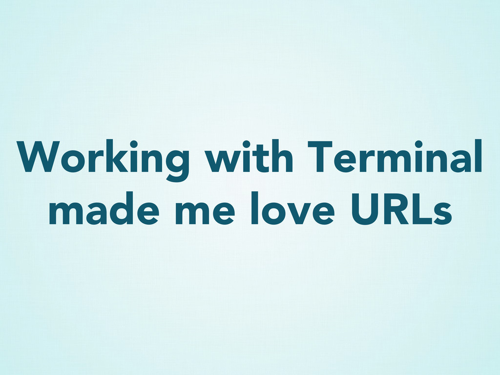 Working with Terminal made me love URLs