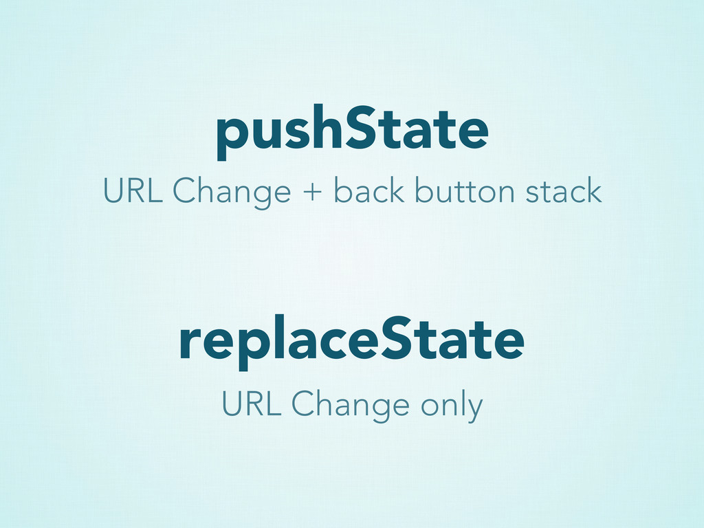 pushState replaceState URL Change + back button...