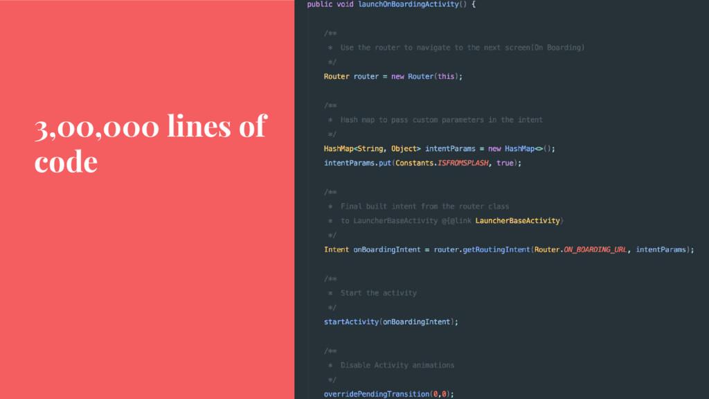 3,00,000 lines of code
