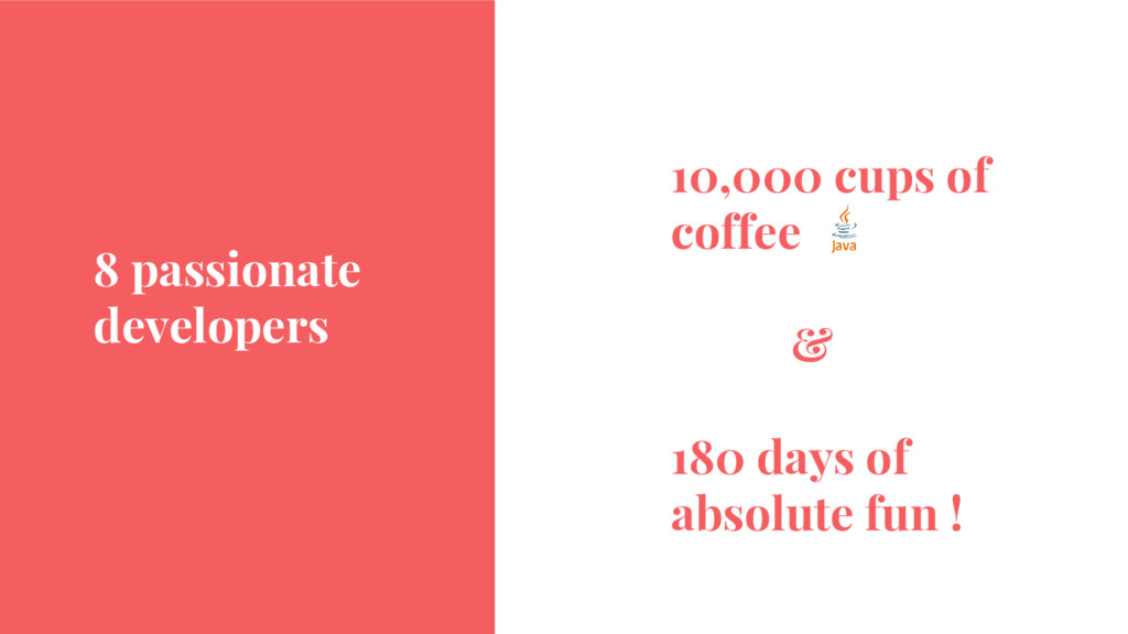 8 passionate developers 10,000 cups of coffee &...