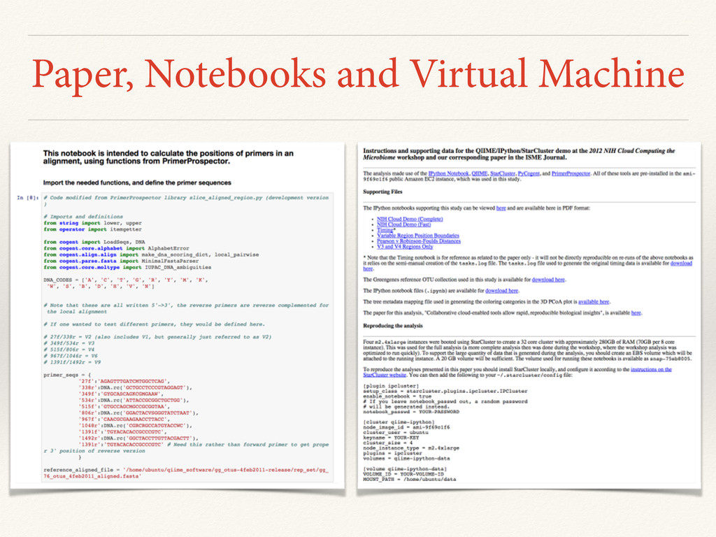 Paper, Notebooks and Virtual Machine