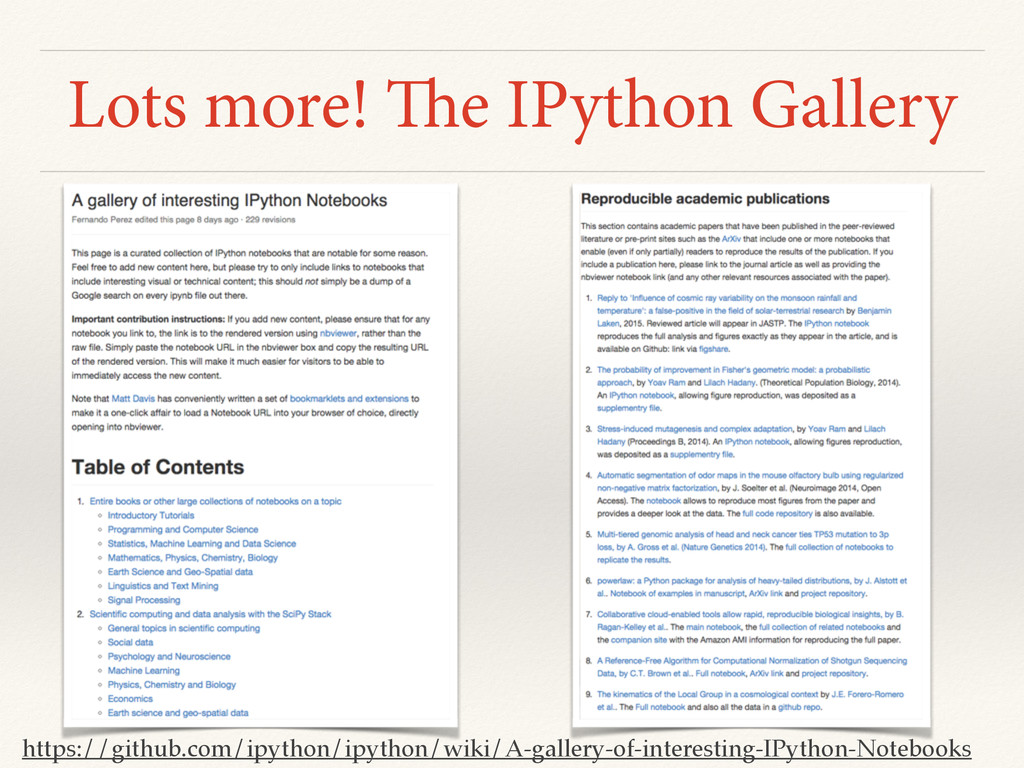 Lots more! The IPython Gallery https://github.c...
