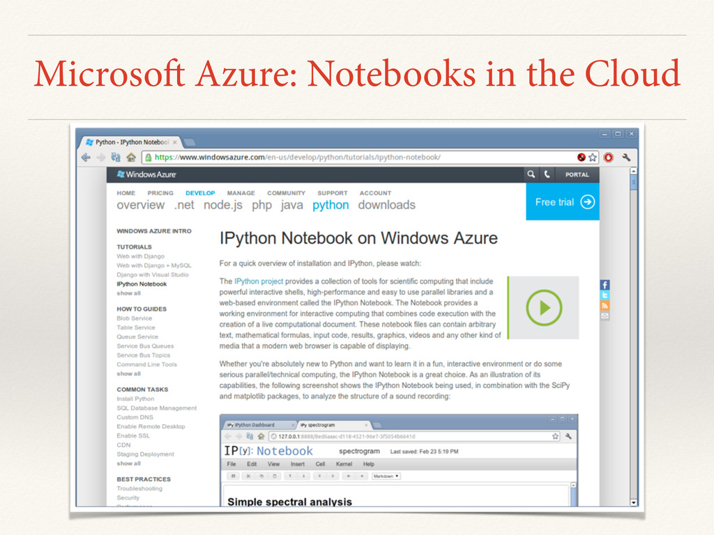 Microsoft Azure: Notebooks in the Cloud