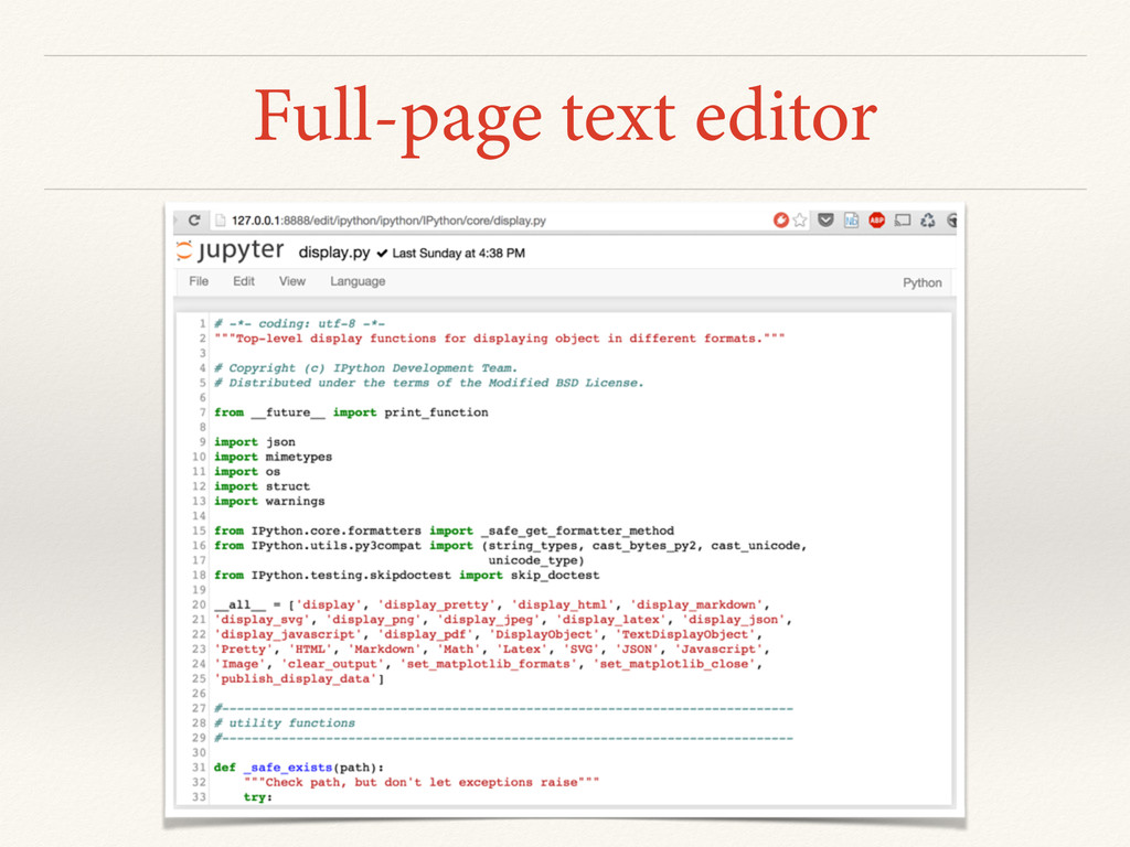 Full-page text editor