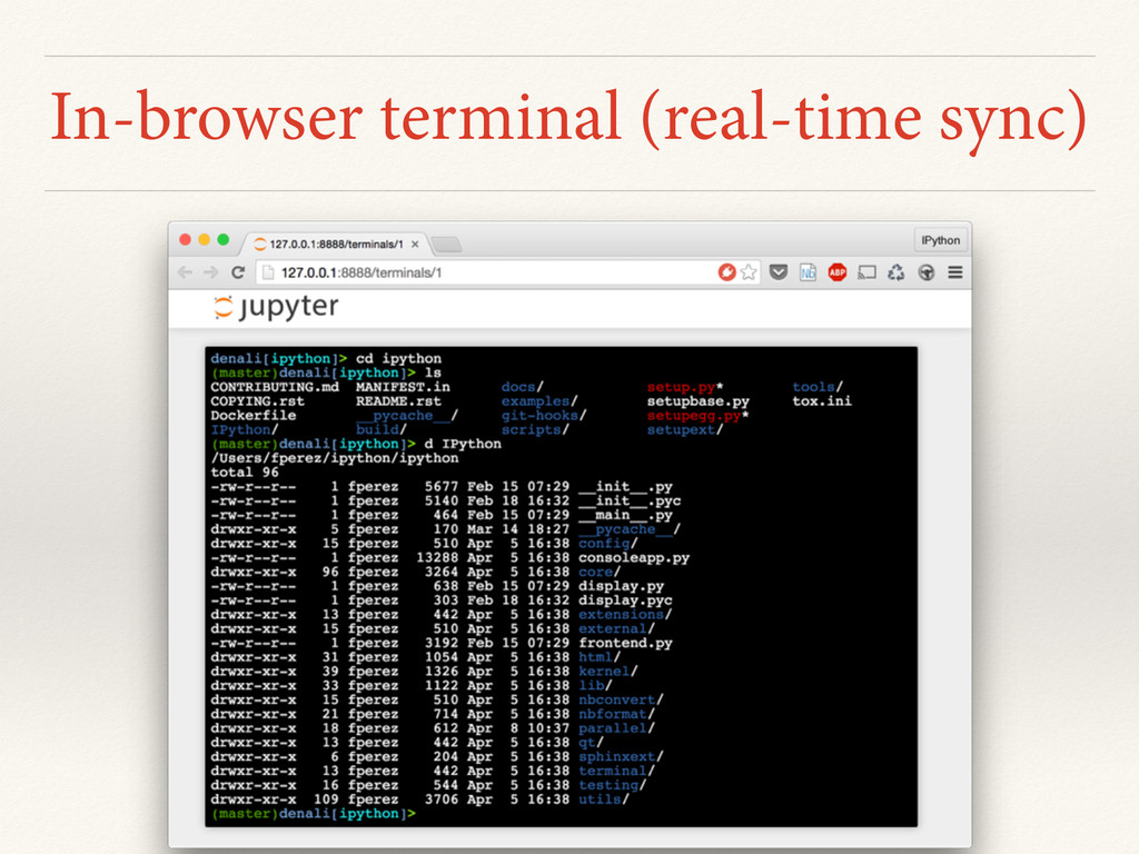 In-browser terminal (real-time sync)