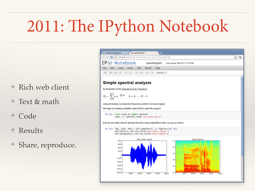 2011: The IPython Notebook ❖ Rich web client ❖ ...