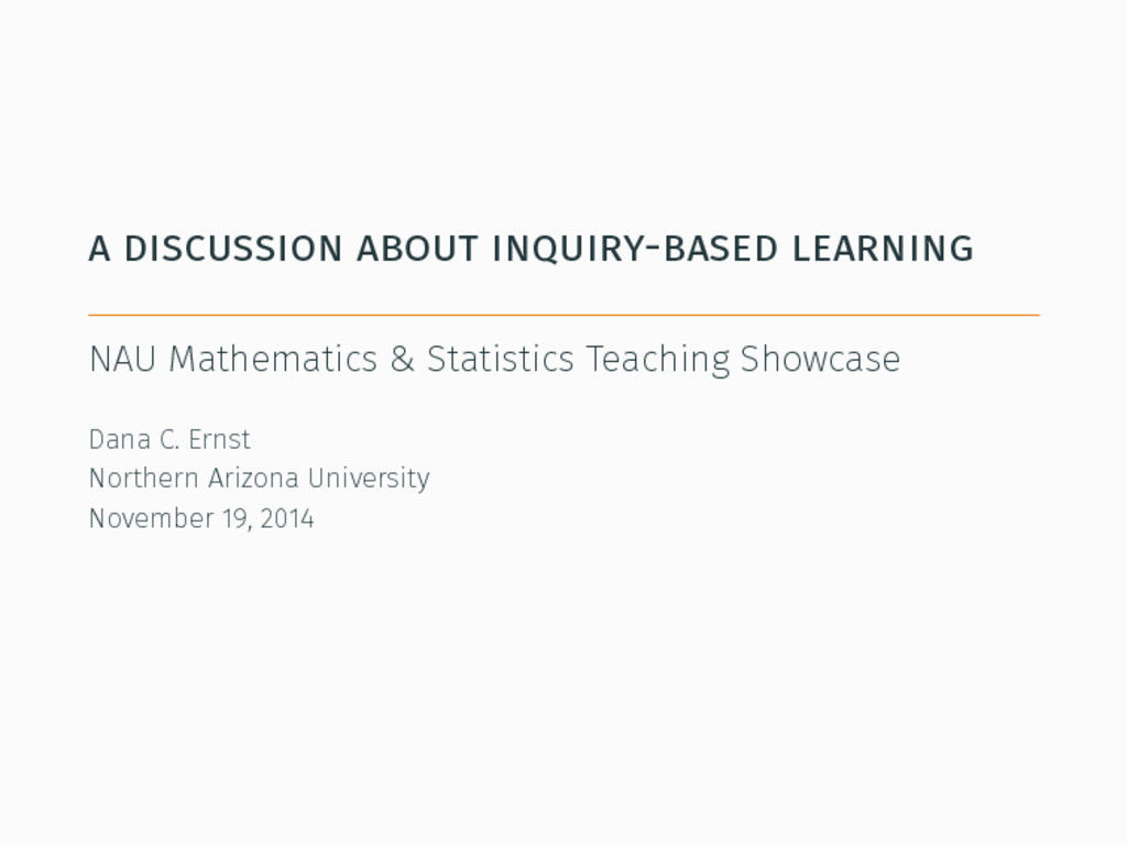 a discussion about inquiry-based learning NAU M...