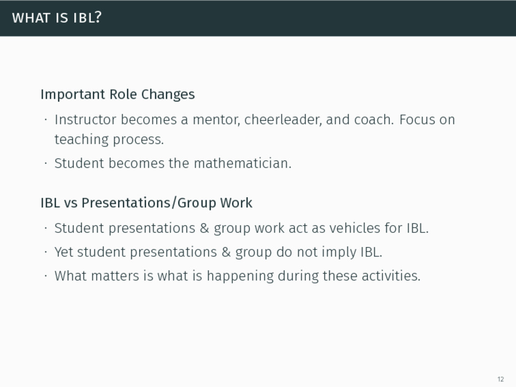 what is ibl? Important Role Changes ∙ Instructo...