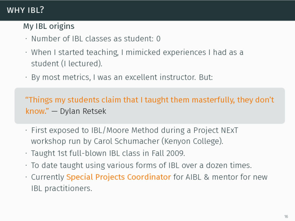 why ibl? My IBL origins ∙ Number of IBL classes...