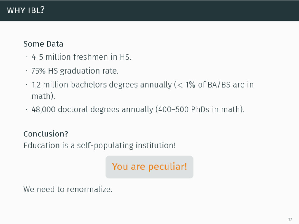 why ibl? Some Data ∙ 4-5 million freshmen in HS...