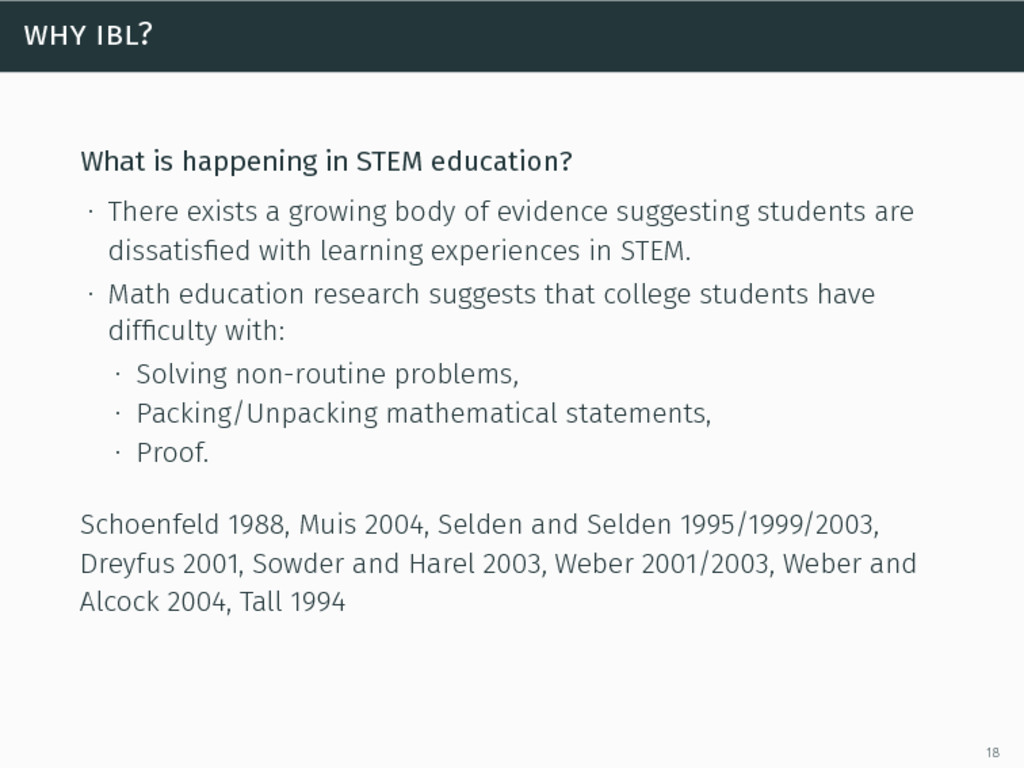 why ibl? What is happening in STEM education? ∙...
