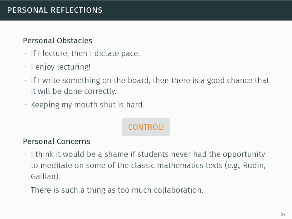 personal reflections Personal Obstacles ∙ If I ...