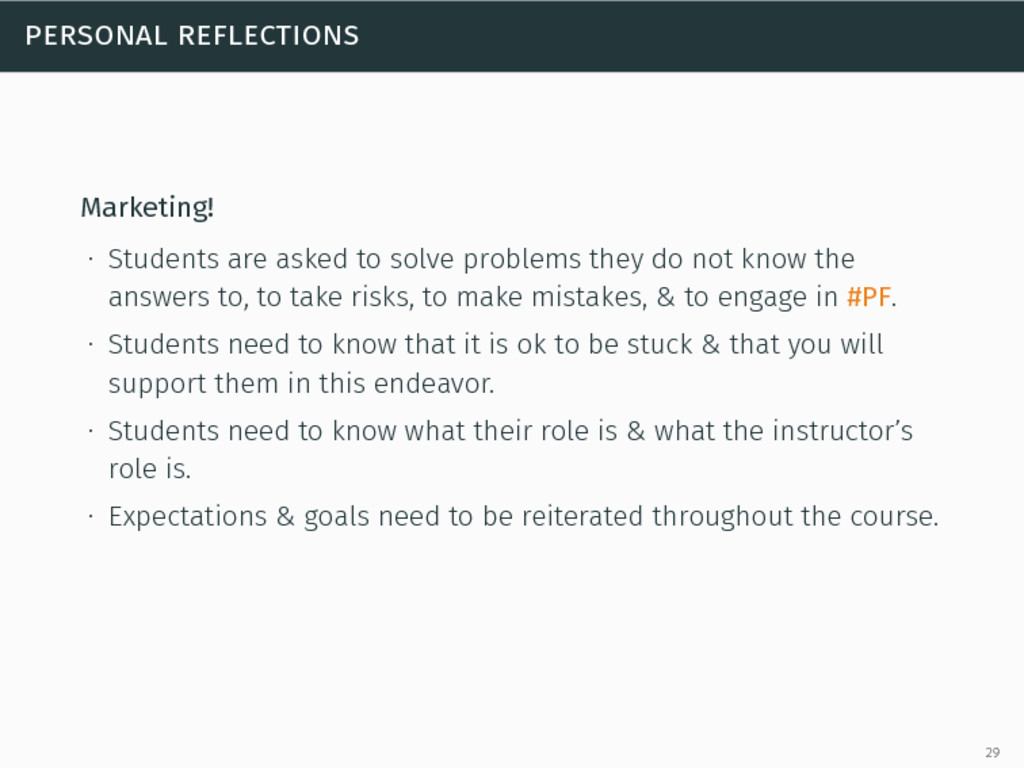 personal reflections Marketing! ∙ Students are ...