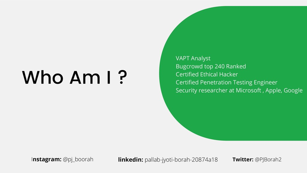 Who Am I ? Instagram: @pj_boorah linkedin: pall...