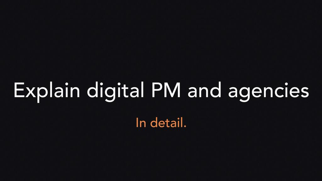 Explain digital PM and agencies In detail.