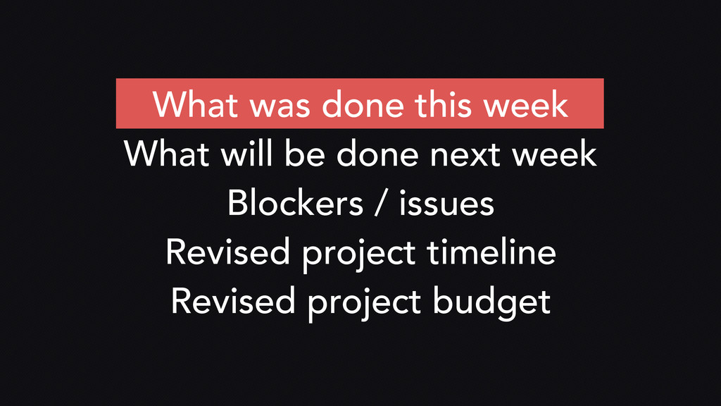 What was done this week What will be done next ...