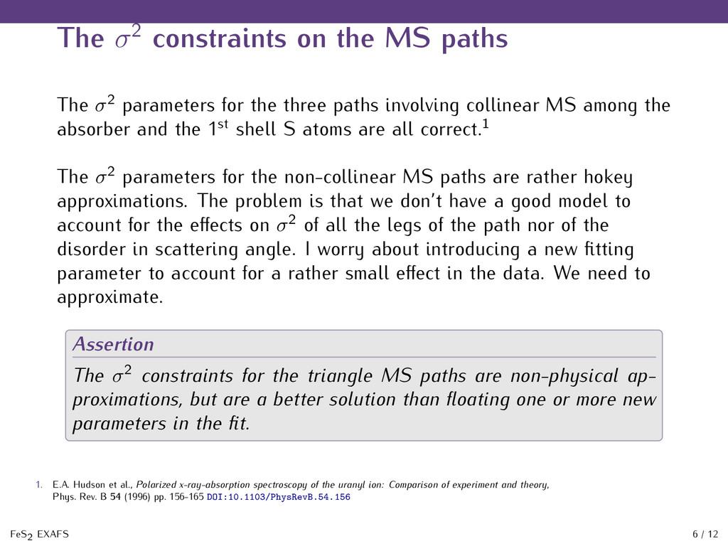 The σ2 constraints on the MS paths The σ2 param...