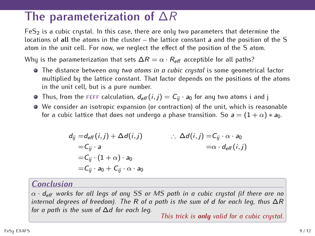 The parameterization of ∆R FeS2 is a cubic crys...