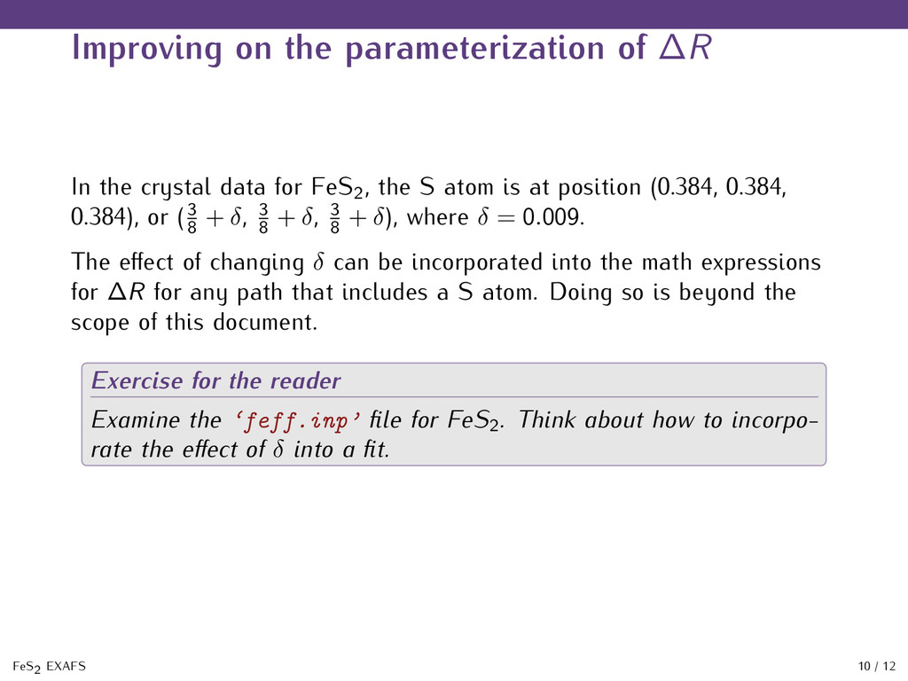 Improving on the parameterization of ∆R In the ...
