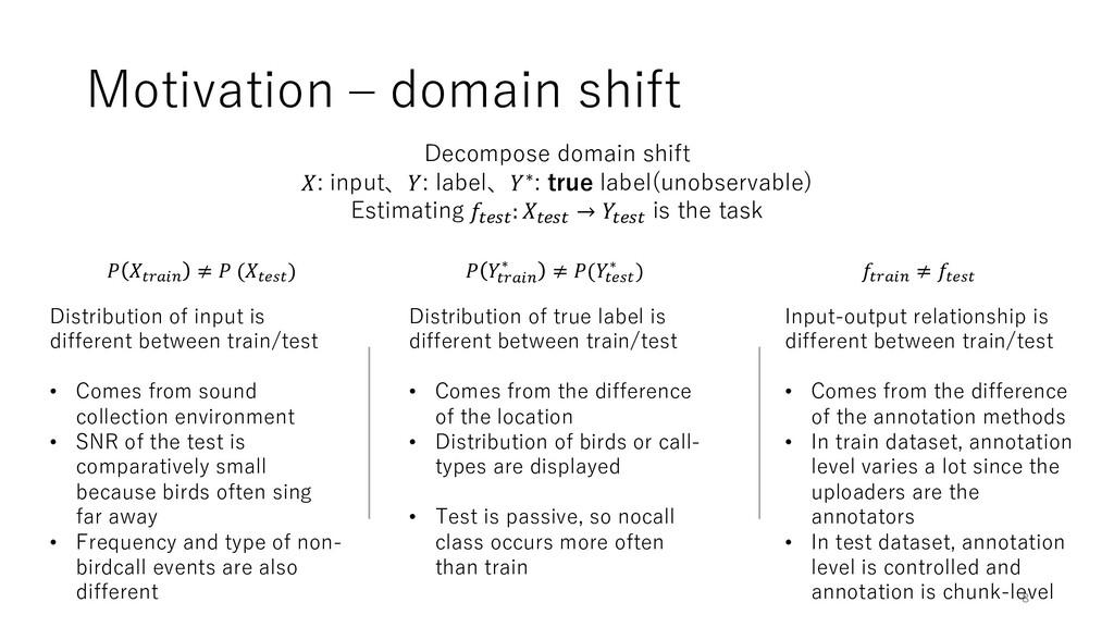 Motivation ‒ domain shift Decompose domain shif...