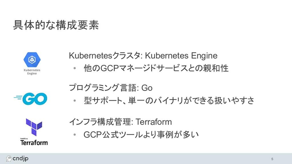 具体的な構成要素 Kubernetesクラスタ: Kubernetes Engine • 他の...