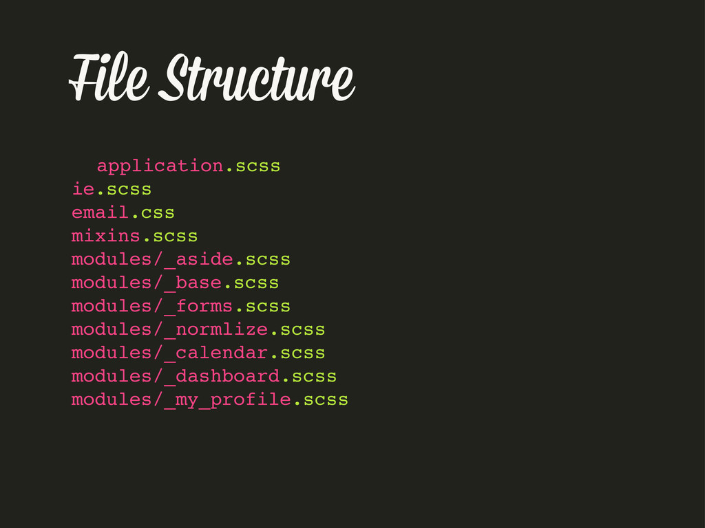 File Structure application.scss ie.scss email.c...
