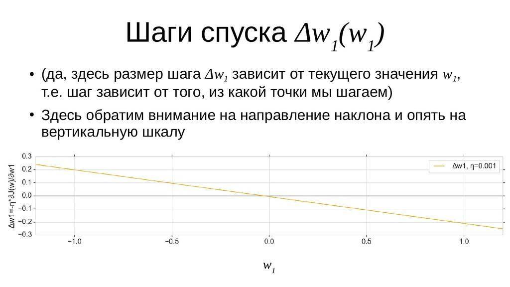 Шаги спуска Δw 1 (w 1 ) ● (да, здесь размер шаг...