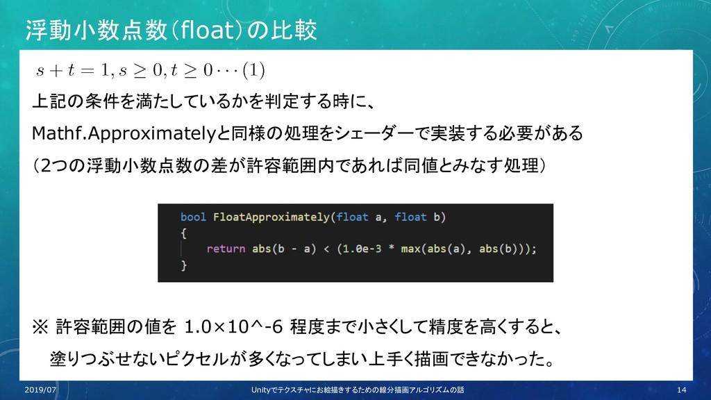 浮動小数点数(float)の比較 上記の条件を満たしているかを判定する時に、 Mathf.Ap...