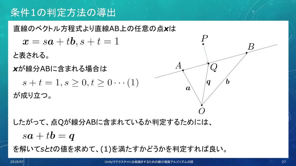 条件1の判定方法の導出 直線のベクトル方程式より直線AB上の任意の点xは と表される。 xが線...