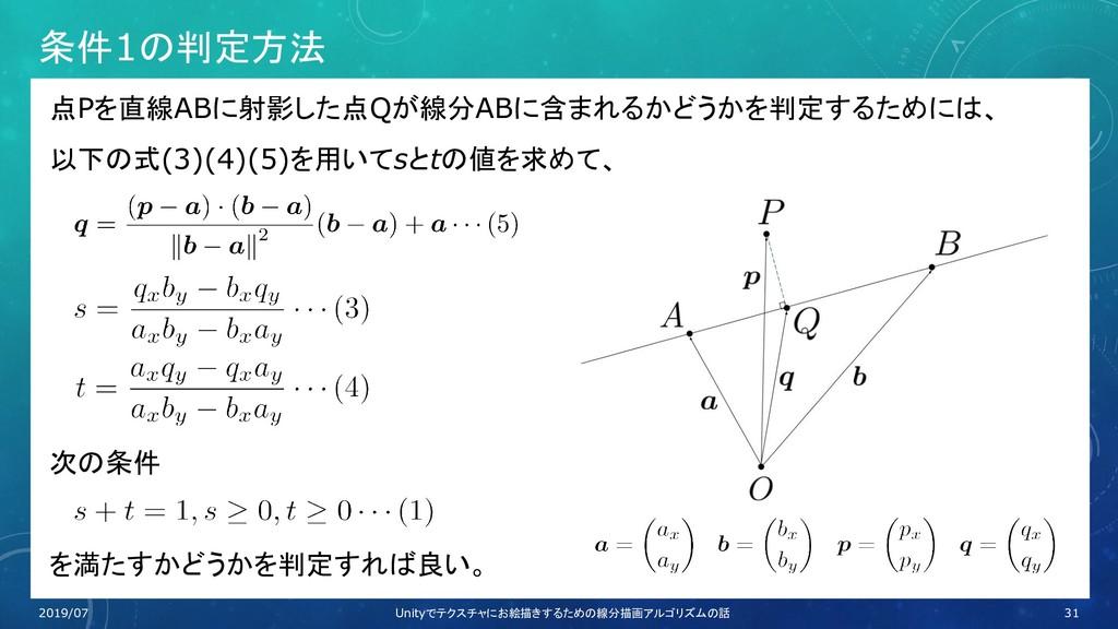 条件1の判定方法 点Pを直線ABに射影した点Qが線分ABに含まれるかどうかを判定するためには、...