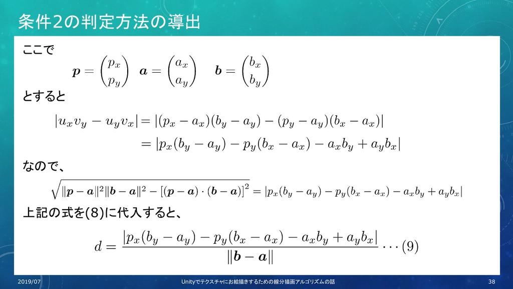 条件2の判定方法の導出 ここで とすると なので、 上記の式を(8)に代入すると、 38 20...