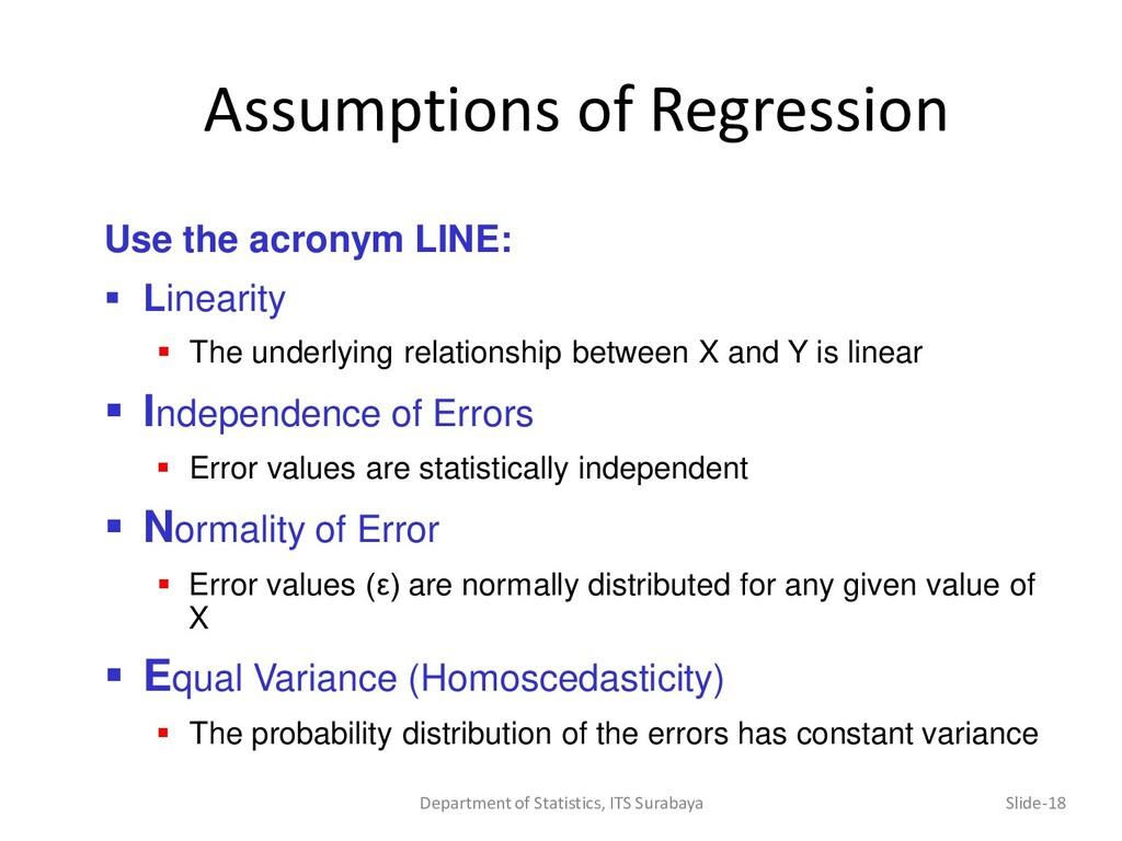 Assumptions of Regression Department of Statist...