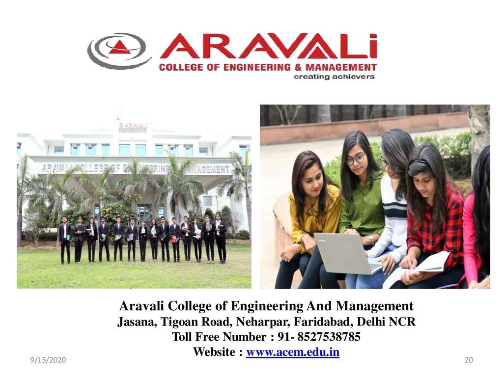 9/15/2020 20 Aravali College of Engineering And...