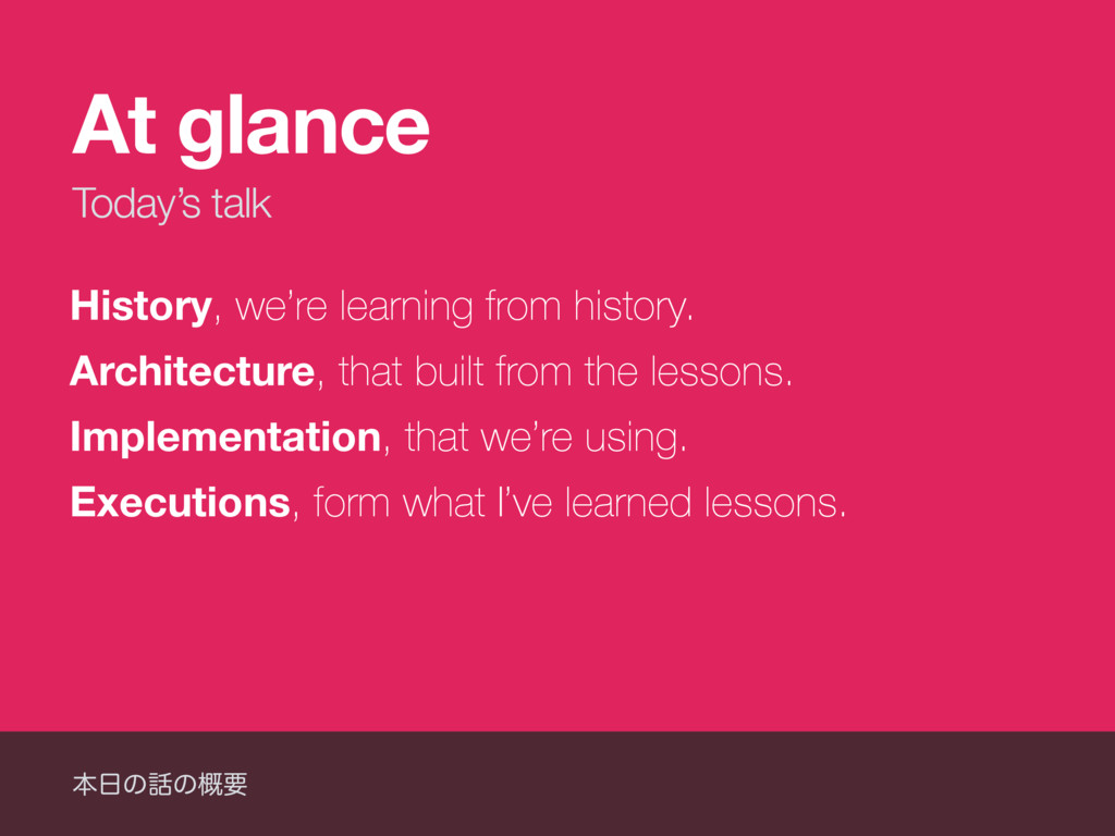 Today's talk At glance History, we're learning ...