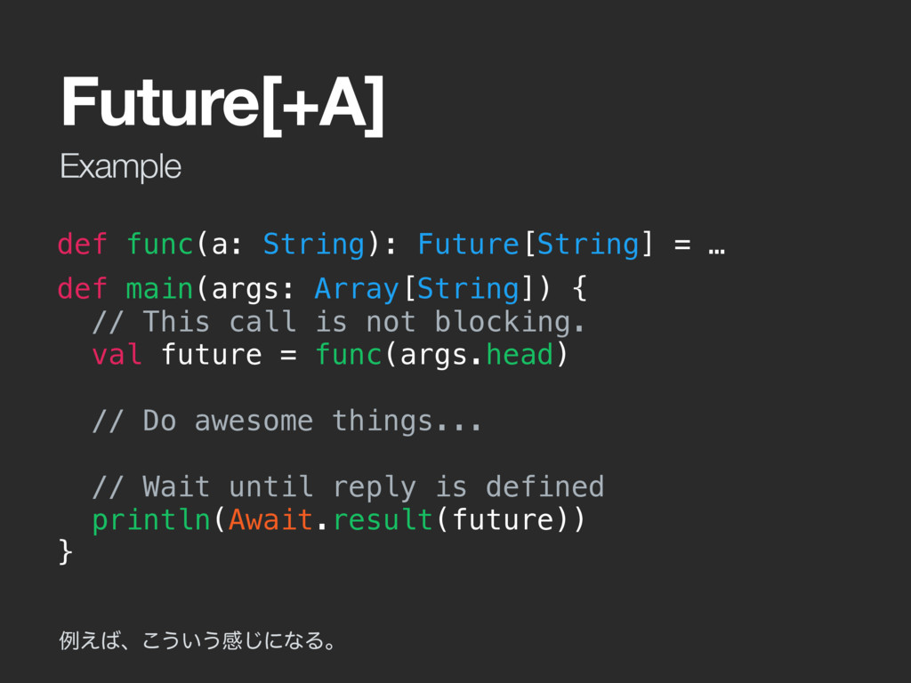 Example Future[+A] def func(a: String): Future[...