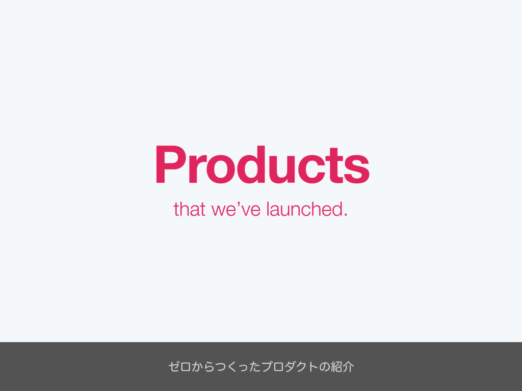that we've launched. Products θϩ͔Βͭͬͨ͘ϓϩμΫτͷ঺հ