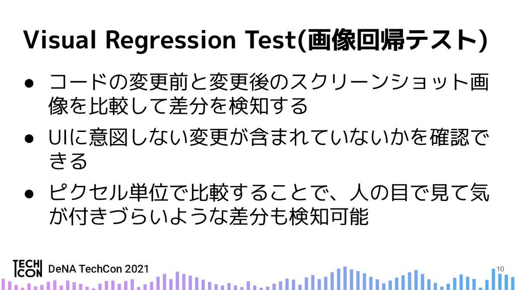 ● コードの変更前と変更後のスクリーンショット画 像を比較して差分を検知する ● UIに意図し...