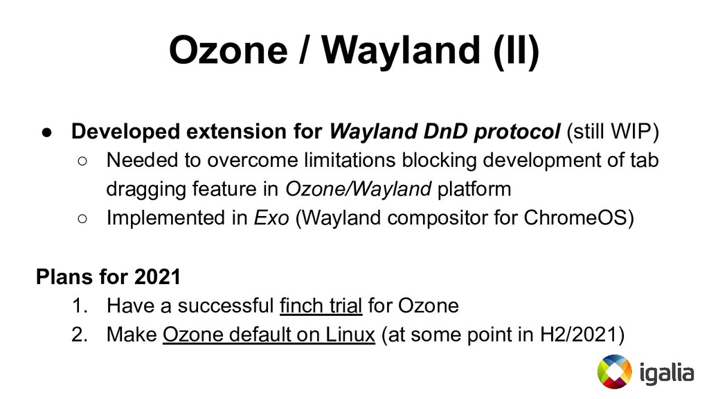 Ozone / Wayland (II) ● Developed extension for ...