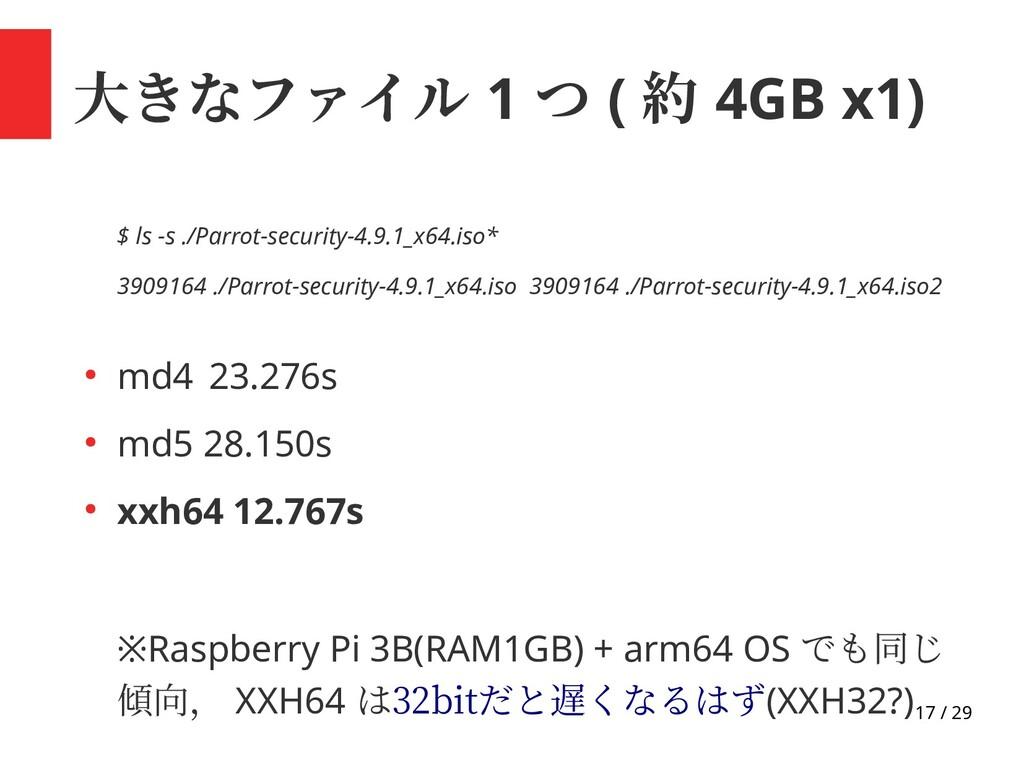 17 / 29 大きなファイル 1 つ ( 約 4GB x1) $ ls -s ./Parro...