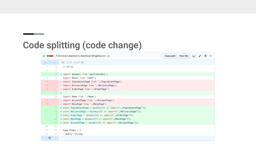 Code splitting (code change)
