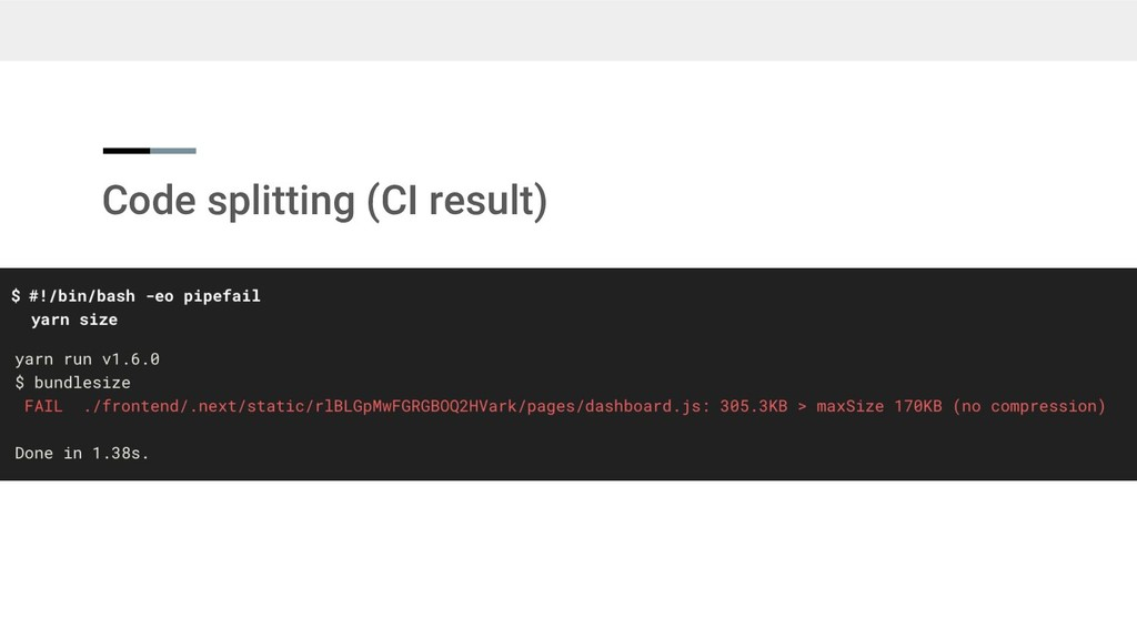 Code splitting (CI result)
