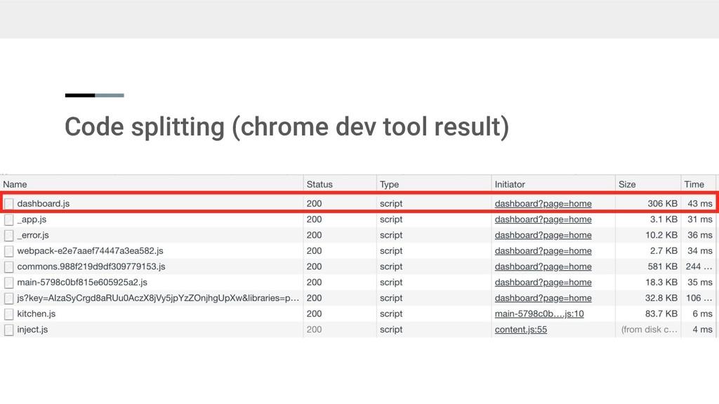 Code splitting (chrome dev tool result)