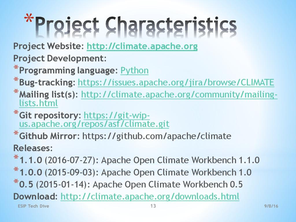 * Project Website: http://climate.apache.org Pr...