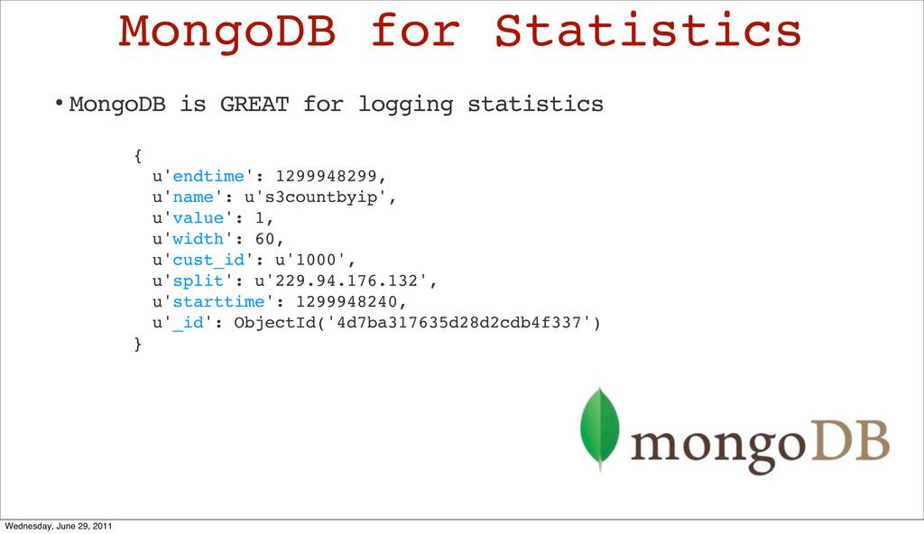 MongoDB for Statistics { u'endtime': 1299948299...