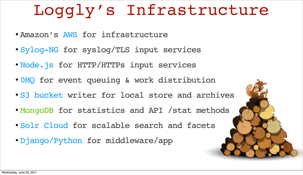 • Amazon's AWS for infrastructure • Sylog-NG fo...