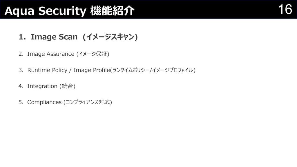 16 Aqua Security 機能紹介 1.Image Scan (イメージスキャン) 2...